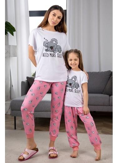 Katia & Bony Koala Desenli Kız Çocuk Pijama Takımı - Beyaz Beyaz